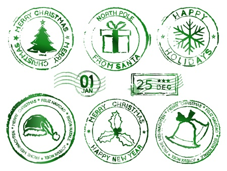 Christmas and new year rubber stamps Vector