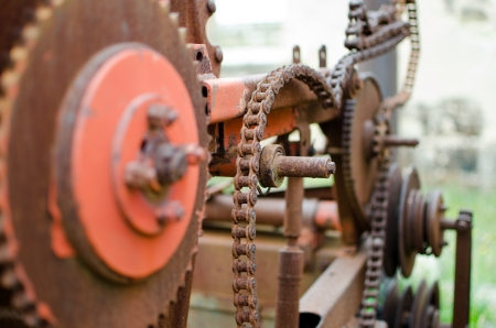 Rusty machinery parts - shallow dept of field Stock Photo