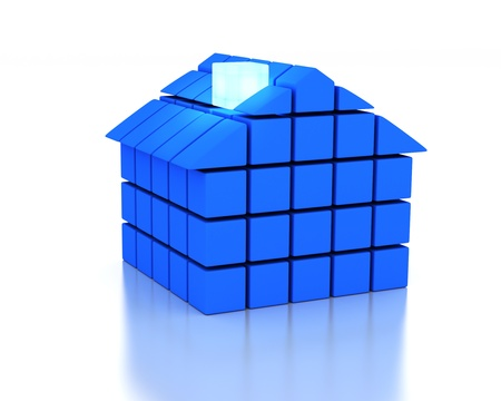 energy classification: 3d House and energy efficiency concept