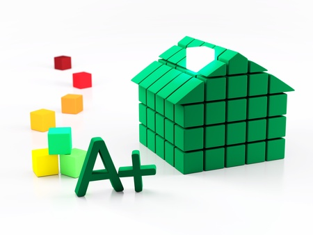 energy ranking: 3d House and energy classification concept