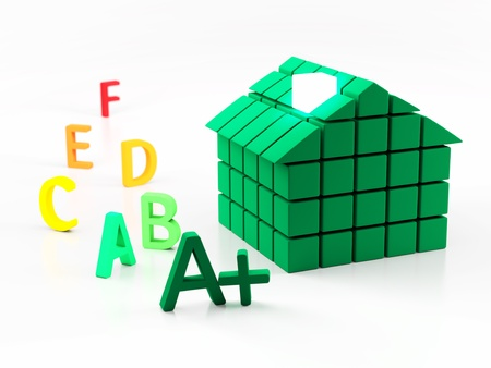 3d House and energy classification concept photo