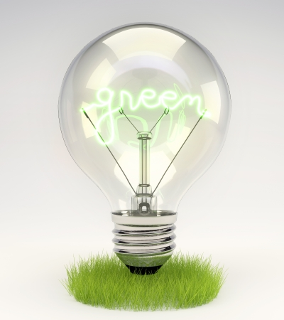 save electricity: Green energy concept