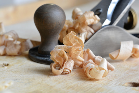 Detail of Shavings and Woodworking Plane