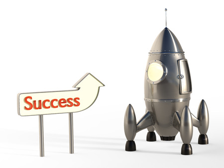 rocketship: Stylized space rocket launch with signpost success concept Stock Photo