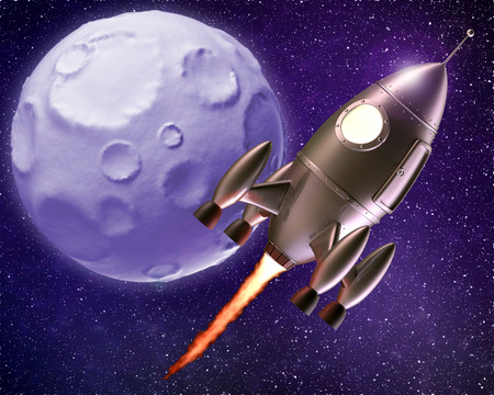 liftoff: Cartoon rocket flying through outer space with moon in the background Stock Photo
