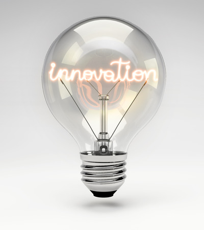filament: Light bulb with realistic fluorescent filament - innovation concept (Set) Stock Photo
