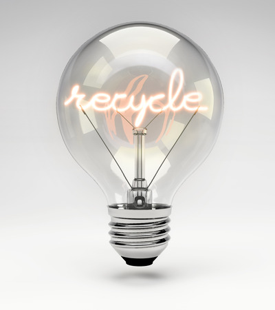 filament: Light bulb with realistic fluorescent filament - recycle concept (Set)