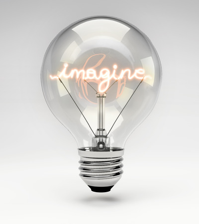 Light bulb with realistic fluorescent filament - imagine concept (Set)
