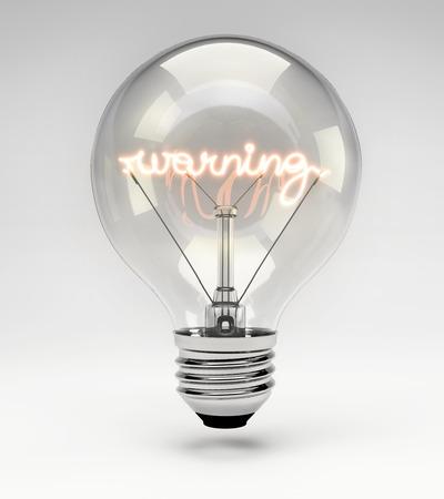 filament: Light bulb with realistic fluorescent filament - warning concept (Set)