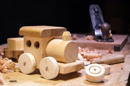 Making Wooden Toys Stock Photo