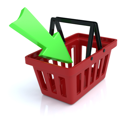 add to basket: Shopping Basket on White Background With Add Arrow Stock Photo