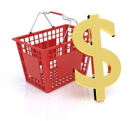 dollar symbol: Shopping Basket On White Background With Dollar Symbol Stock Photo