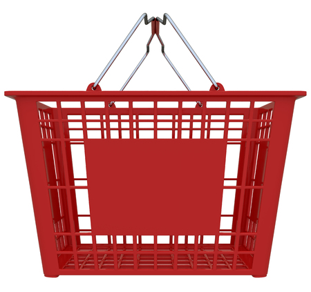 isolated over white: Red Shopping Basket Isolated Over White Background Stock Photo