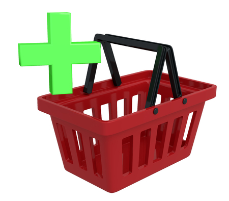 add to basket: Shopping Basket On White Background With Add Symbol