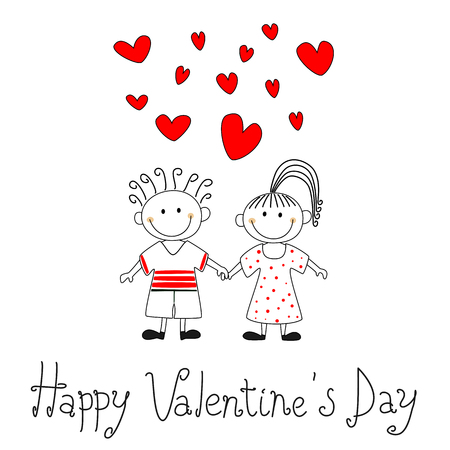 Cute cartoon vector illustration of a boy and a girl holding their hands. Happy Valentines day card. Illustration