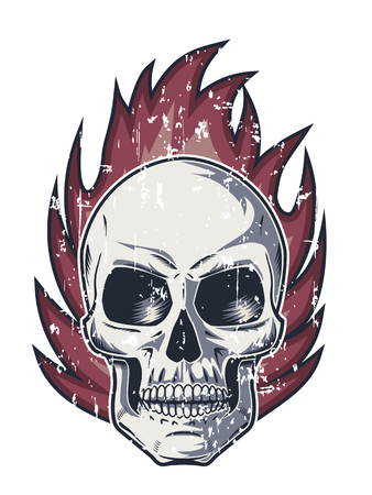Flame and Skull with Evil Look Illustration