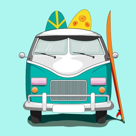 Poster with Vintage Van and Surf Tables - Vector Illustration Illustration