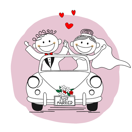 Just married. Newlywed couple driving a car for their honeymoon Standard-Bild - 112417407