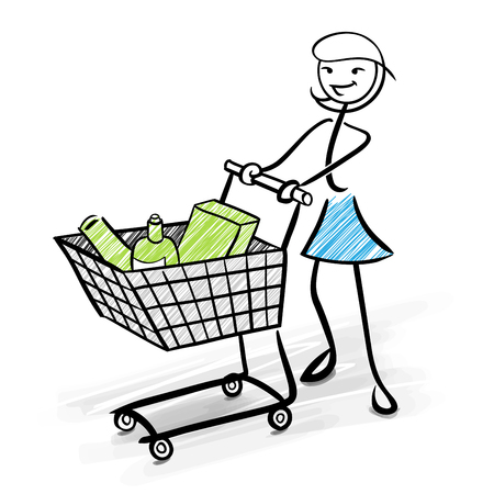 Woman stick figure with shopping cart and green products