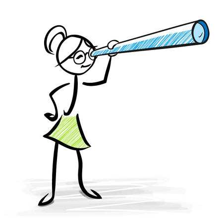 Woman looking through telescope - Business vision concept - vector stick figure illustration