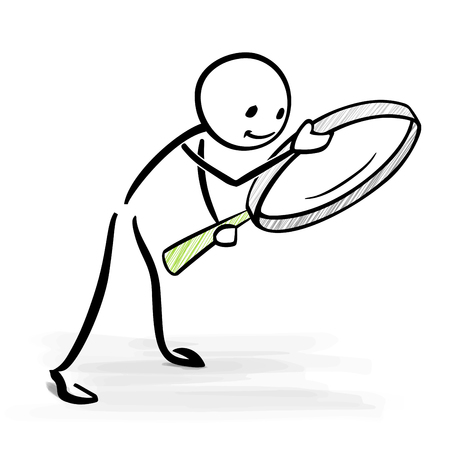 Man looking through a magnifier glass - vector stick figure illustration