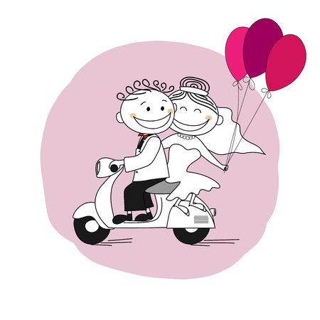 Just married couple on a scooter leaving for honeymoon - vector illustration