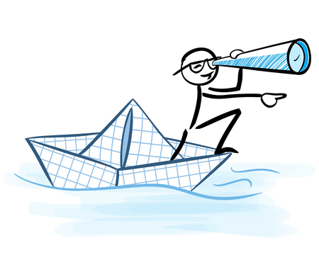 Businessman looking through telescope on a paper boat - Business vision concept - stick figure