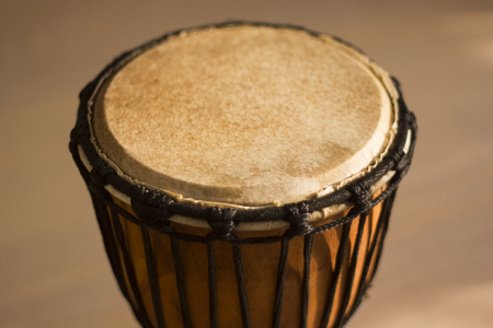 Close up on brown djembe percussion Stock Photo