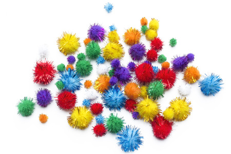 Pom poms party colorful decoration Stock Photo