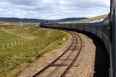 Railway in Mongolia Stock Photo