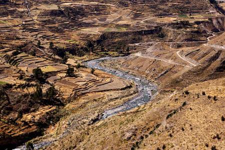 crevasse: terraces, colca canion, peru