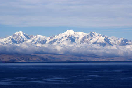 Mount Illimani, Isla del Sol, Bolivia Stock Photo