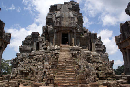 Ancient pyramid temple in Angkor, Cambodia photo