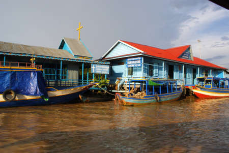 Floating House on the Tonle Sap lake, near Angkor and Siem Reap, Cambodia