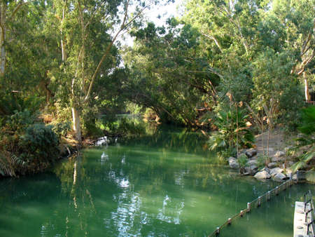 protection of the bible: A local baptismal area on the Jordan River, Israel.