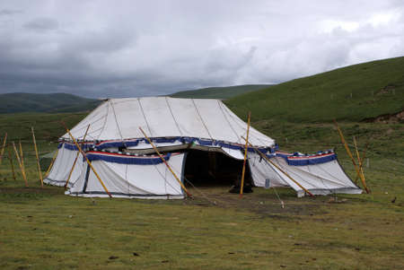 Buddist tent in Litang, Tibet, China