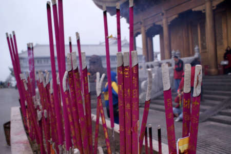 bleating: Incense and candles at a Buddhist temple, Sichuan, China Stock Photo