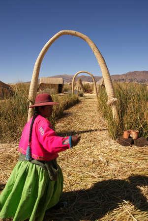 Uros, �le flottante sur le lac Titicaca au P�rou