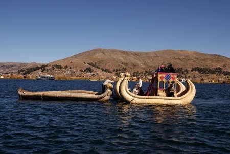 Uros, Floating island on titicaca lake in Peru Stock Photo - 12971779