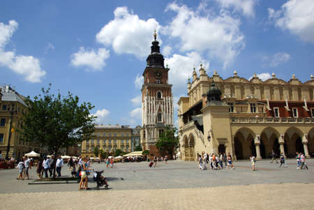 main market: The Main Market Square in Cracow, Old Town, Poland Editorial