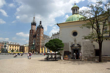 The Main Market Square in Cracow, Old Town, Poland 報道画像