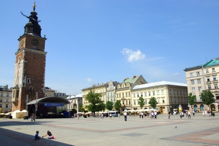 The Main Market Square in Cracow, Old Town, Poland Stock Photo