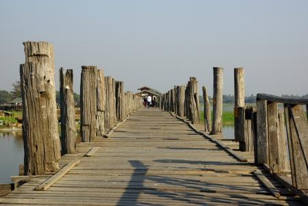 U bein bridge at sunset in Amarapura near Mandalay, Myanmar (Burma) Stock Photo