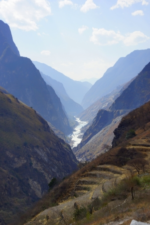 flood area sign: Tiger Leaping Gorge  hutiaoxia  near Lijiang, Yunnan Province, China   Stock Photo