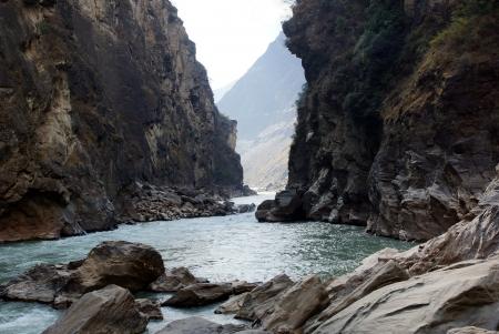 flood area sign: Tiger Leaping Gorge  hutiaoxia  near Lijiang, Yunnan Province, China   Stock Photo