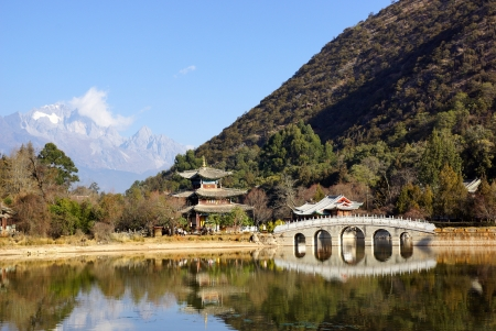 Black Dragon Pool Jade Dragon Snow Mountain in Lijiang, Yunnan, China   photo