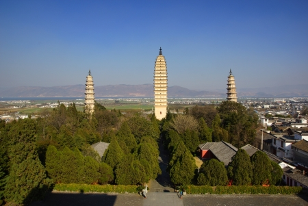 Three buddhist pagodas in Dali city, Yunnan province, China Stock Photo