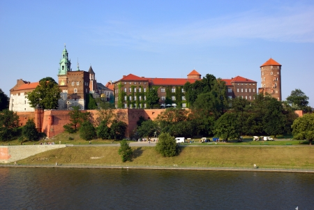 Wawel Castle on the Vistula river in Cracow, Poland