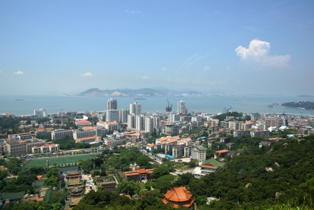 Xiamen aerial view, modern city in China photo