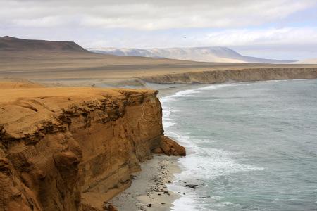 Cliff coast of Atacama desert near Paracas in Peru photo